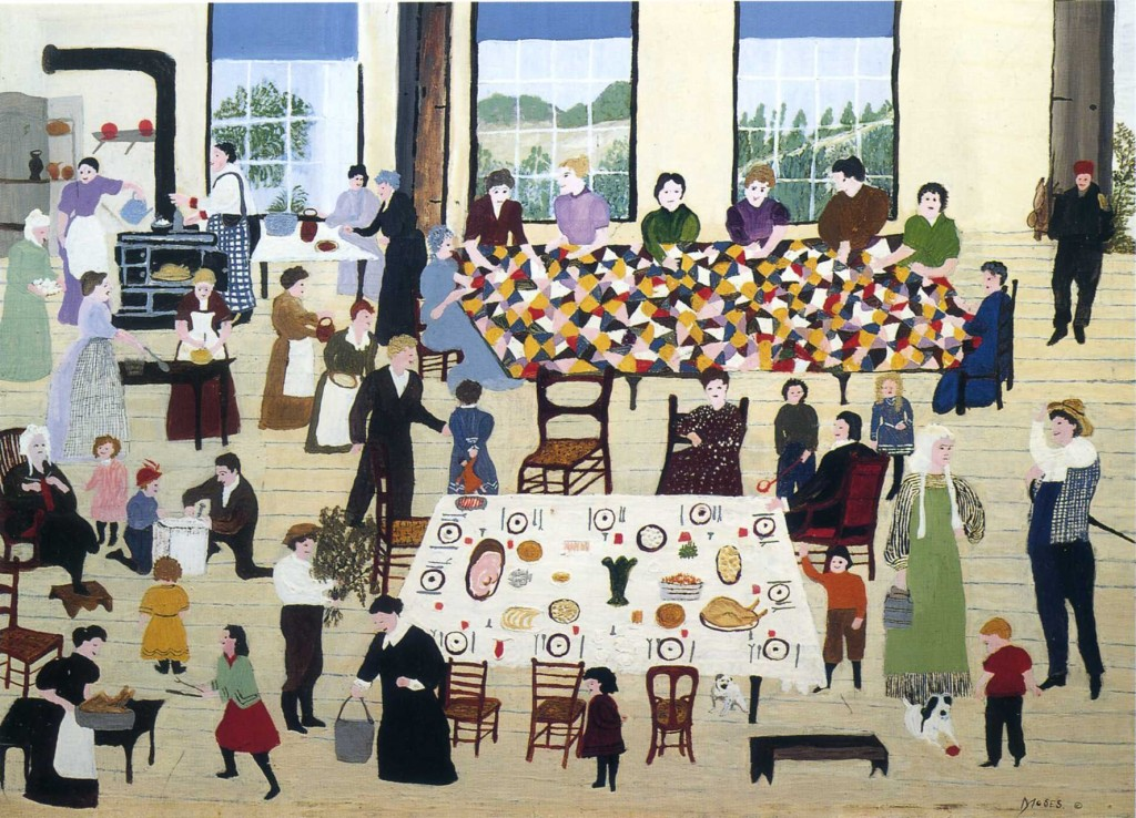 The Quilting Bee, Grandma Moses, 1950.