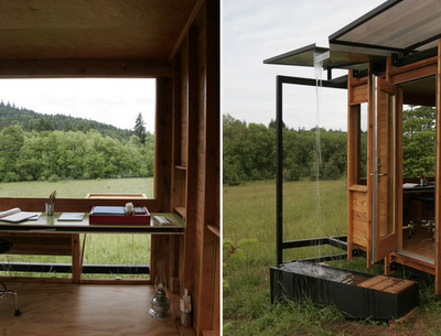 Watershed House is a 100-square-foot writer's retreat located in Wren, Oregon designed by architect, Erin Moore of FLOAT Architectural Research and Design. Erin built this small studio for her mother who is a noted nature writer.
