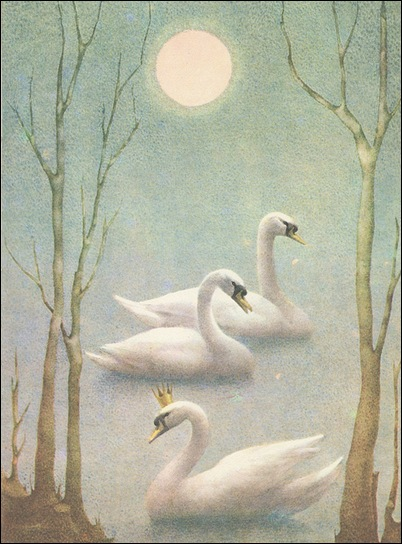 Swan Lake, book cover. Prague 1970.  Illustrated by Ludmila Jiřincová.