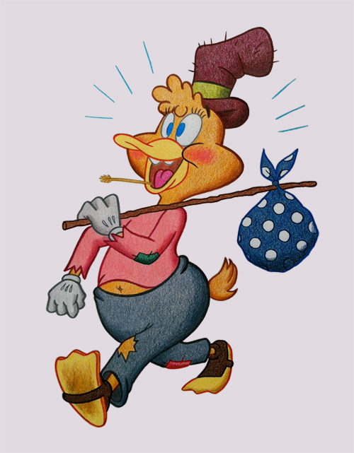 See, it's a hobo duck and it's got a patch on its jeans, so it's like me, kinda homeless, trying to figure out how to be a quilt designer/maker without a studio.