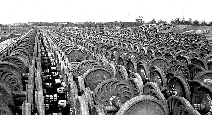 American Expeditionary Force, Siberia. Over 27,000 sets of train wheels stockpiled for war effort.
