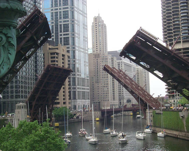 The Wabash St. bridge, going up to make way for a ship.