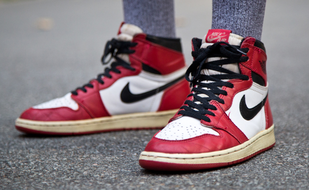 The Air Jordan 1 Chicago, courtesy a blog post from Cleanup Clothing. Gentlemen, I do not have permission to run this photo but it is so fresh.