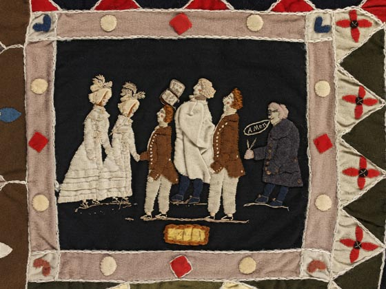 Quilted coverlet by Ann West, 1820.
