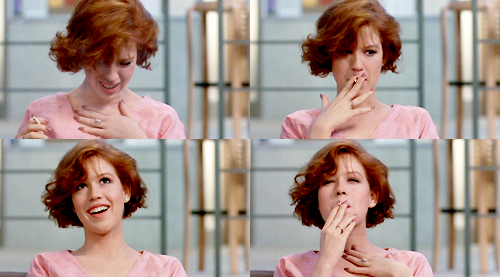 Molly Ringwald, smoking grass in John Hughes' The Breakfast Club.