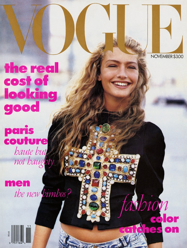 "This was Anna Wintour's first Vogue cover. It is credited with helping to launch the ""high-low mix."""