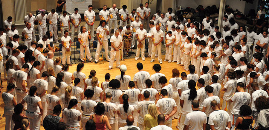 From the NYC Capoeira website. This is a much larger event/group than I saw on Friday, but you get the idea.