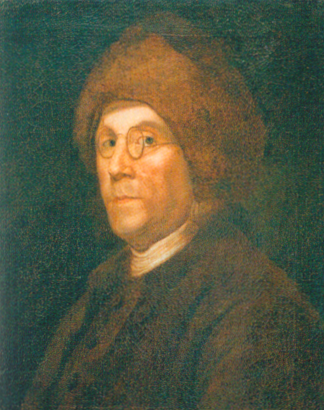 """When Benjamin Franklin arrived in Paris, he was wearing a little fur cap to keep his bald head warm. To the French, the hat was the embodiment of the rugged American frontiersman and proof that Franklin was a true ""natural man."" In fact, Franklin sent back to America for a large supply of the caps, which he wore everywhere around Paris."""